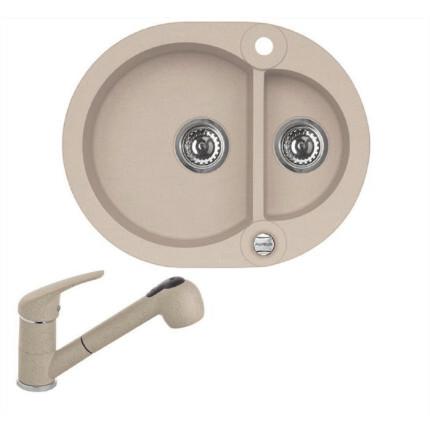 Alveus Roll 80 Design egymedencés gyümölcsmosós kerek gránit mosogató + Színazonos Alveus zuhanyfejes csaptelep