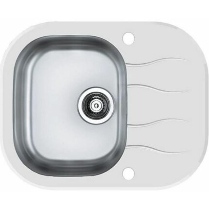 Alveus Wave-10 Extra Luxus egymedencés csepptálcás üveg-rozsdamentes acél mosogató