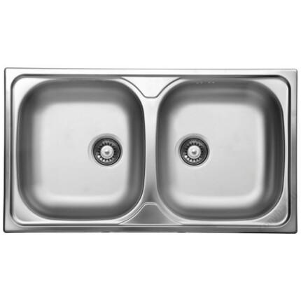 Rozsdamentes két medencés mosogató