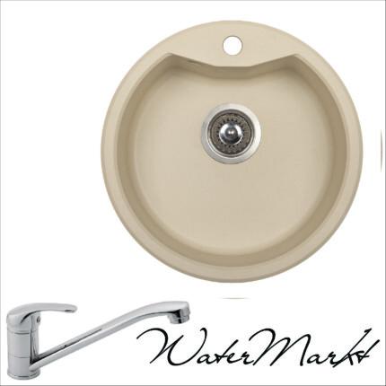 DEANTE SOLIS ZRS1803 kerek gránit mosogatótál + normál álló króm csaptelep - Pezsgő