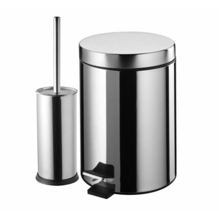 Bisk-Basic króm 3L szemetes + wc kefe tartó
