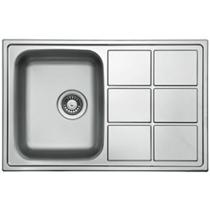 Kevmil KM-LT-780-500 egymedencés csepptálcás extra mély rozsdamentes mosogató