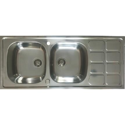 Kevmil KM-50x116 extra mély automata leeresztős kétmedencés csepptálcás rozsdamentes mosogató