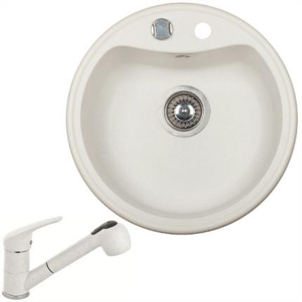 Marmorin ISAO kerek gránit mosogatótálca + Színazonos olasz zuhanyfejes gránit csaptelep