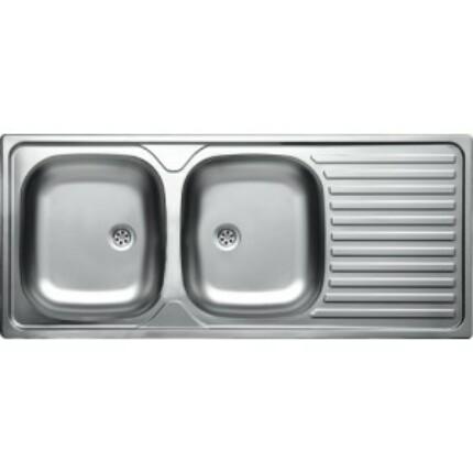 Rozsdamentes kétmedencés mosogató EC-138DK - karcálló (szövetmintás)