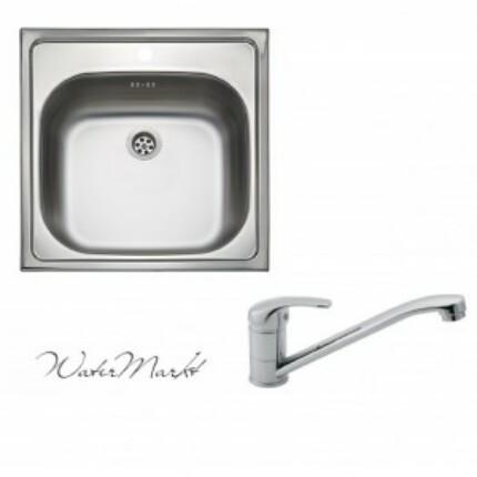 Kevmil KM-50x50 rozsdamentes mosogató + Ferro BVA4 álló csaptelep