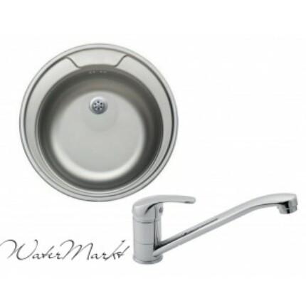 Kevmil KM-48 kör rozsdamentes mosogató + Ferro BVA4 álló csaptelep