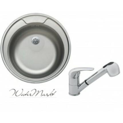 Kevmil KM-48 kör rozsdamentes mosogató + Ferro BVA8 zuhanyfejes csaptelep