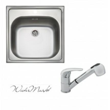 Kevmil KM-50x50 rozsdamentes mosogató + Ferro BVA8 zuhanyfejes csaptelep