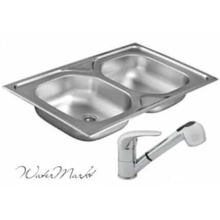 Kevmil KM-800C rozsdamentes mosogató + Ferro BVA8 zuhanyfejes csaptelep