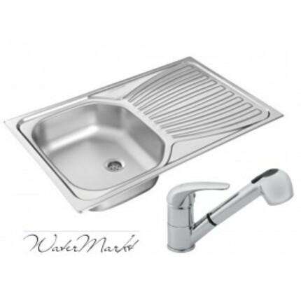 Kevmil KM-800 rozsdamentes mosogató + Ferro BVA8 zuhanyfejes csaptelep