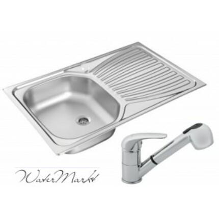 Kevmil KM-765 rozsdamentes mosogató + Ferro BVA8 zuhanyfejs csaptelep