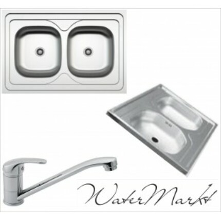 Kevmil kétmedencés teletetős 60x90 cm-es rozsdamentes mosogató + Ferro BVA4 álló csaptelep
