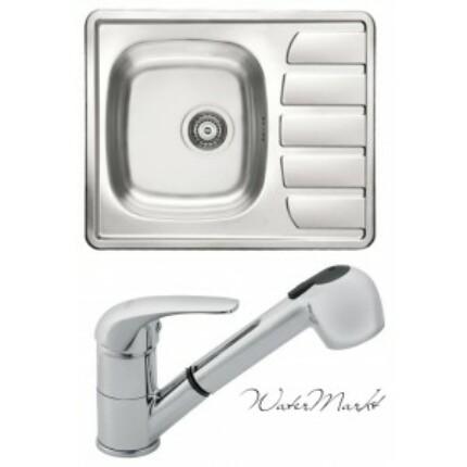 Alveus ZOOM-10 beépíthető mosogatótálca + Ferro zuhanyfejes csaptelep
