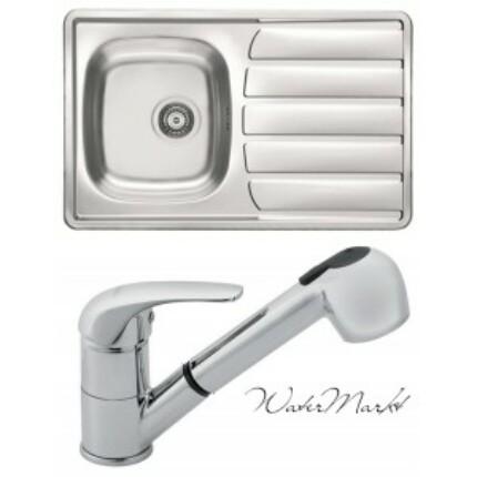 Alveus ZOOM-20 beépíthető mosogatótálca + Ferro zuhanyfejes csaptelep