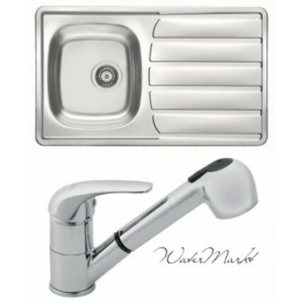 Alveus ZOOM-30 beépíthető mosogatótálca + Ferro zuhanyfejes csaptelep