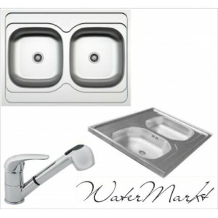 Kevmil kétmedencés teletetős 60x80 cm-es rozsdamentes mosogató + Ferro BVA8 zuhanyfejes csaptelep