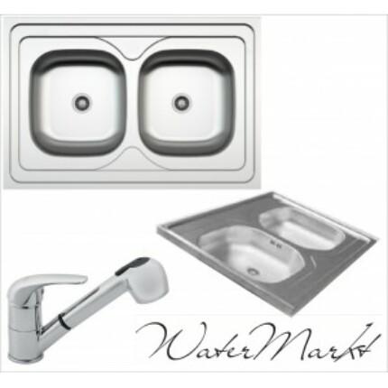 Kevmil kétmedencés teletetős 60x90 cm-es rozsdamentes mosogató + Ferro BVA8 zuhanyfejes csaptelep