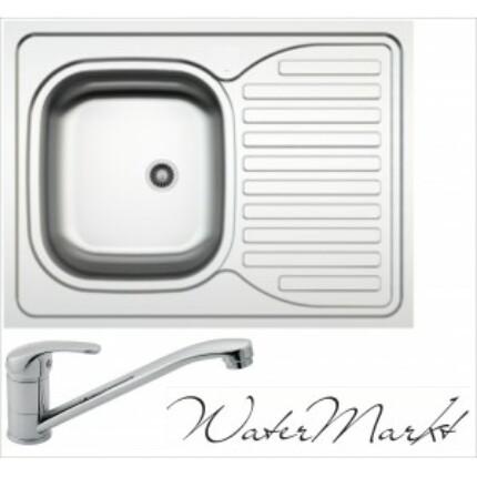Kevmil teletetős egymedencés csepptálcás 60x80 cm-es rozsdamentes mosogató + Ferro BVA4 álló csaptelep