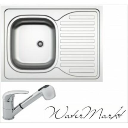 Kevmil teletetős egymedencés csepptálcás 60x80 cm-es rozsdamentes mosogató + Ferro BVA8 zuhanyfejes csaptelep