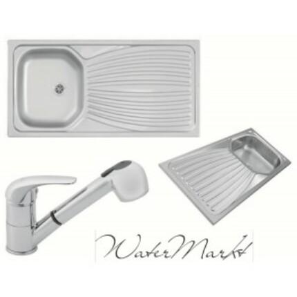 Kevmil teletetős egymedencés csepptálcás 50x100 cm-es rozsdamentes mosogató + Ferro BVA8 zuhanyfejes csaptelep