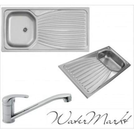 Kevmil teletetős egymedencés csepptálcás 50x100 cm-es rozsdamentes mosogató + Ferro BVA4 álló csaptelep