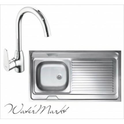 Kevmil teletetős egymedencés csepptálcás 60x100 cm-es rozsdamentes mosogató + Ferro BAG4 íves csaptelep