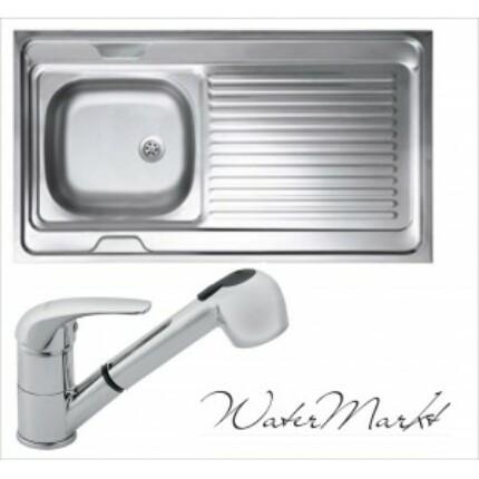 Kevmil teletetős egymedencés csepptálcás 60x100 cm-es rozsdamentes mosogató + Ferro BVA8 zuhanyfejes csaptelep