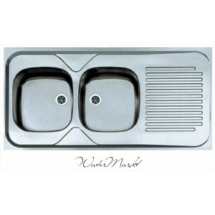 ALVEUS CLASSIC-100 Teletetős kétmedence csepptálcás  rozsdamentes mosogató - Medence bal kézre essen