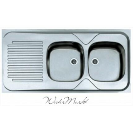 ALVEUS CLASSIC-100 Teletetős kétmedence csepptálcás  rozsdamentes mosogató - Medence jobb kézre essen