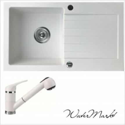 DEANTE ZORBA ZQZA113 fehér gránit mosogató + zuhanyfejes fehér csaptelep
