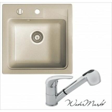 Marmorin ISAO négyszögletes gránit mosogatótálca + Króm  zuhanyfejes csaptelep - 01 - safari