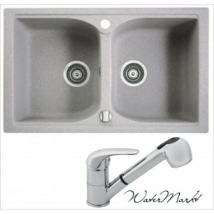 Marmorin LUKKA kétmedencés gránit mosogatótálca + Króm  zuhanyfejes csaptelep - 01 - safari