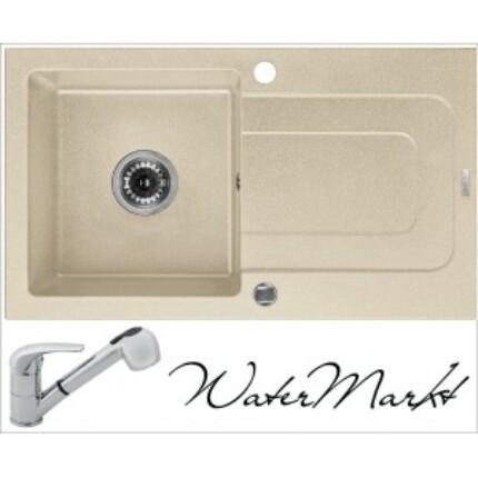 DEANTE FUNK ZQQ-7113 egymedencés csepptálcás gránit mosogatótál + zuhanyfejes króm csaptelep - Sand