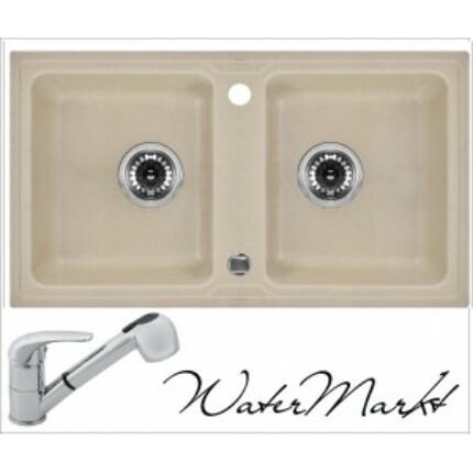 DEANTE ZORBA ZQZ7203 gránit mosogatótál + zuhanyfejes króm csaptelep - Sand