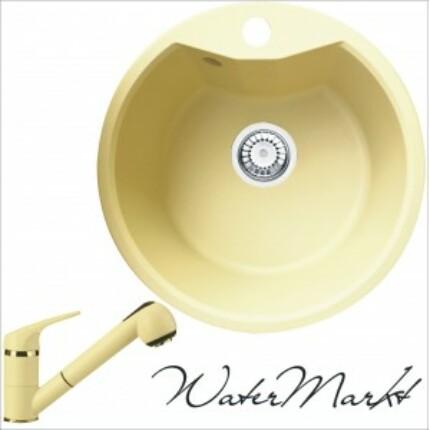 DEANTE FIESTA SOLIS ZRS1803 kerek gránit mosogatótál + színazonos zuhanyfejes gránit csaptelep - Pezsgő