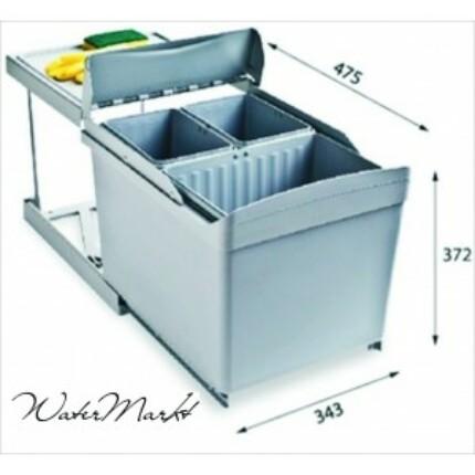 ALVEUS ALBIO-30/3 1X16 + 2X7.5L-es három fakkos beépíthető hulladéktároló