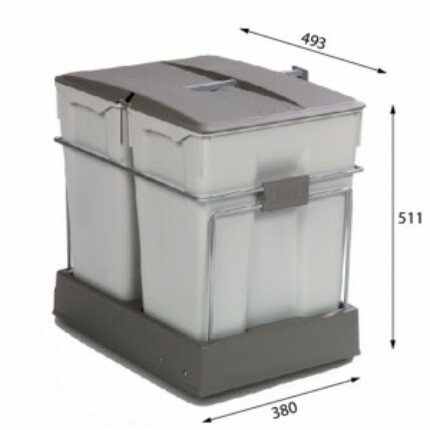 ALVEUS ALBIO-40/2 2X30L-es két fakkos beépíthető hulladéktároló